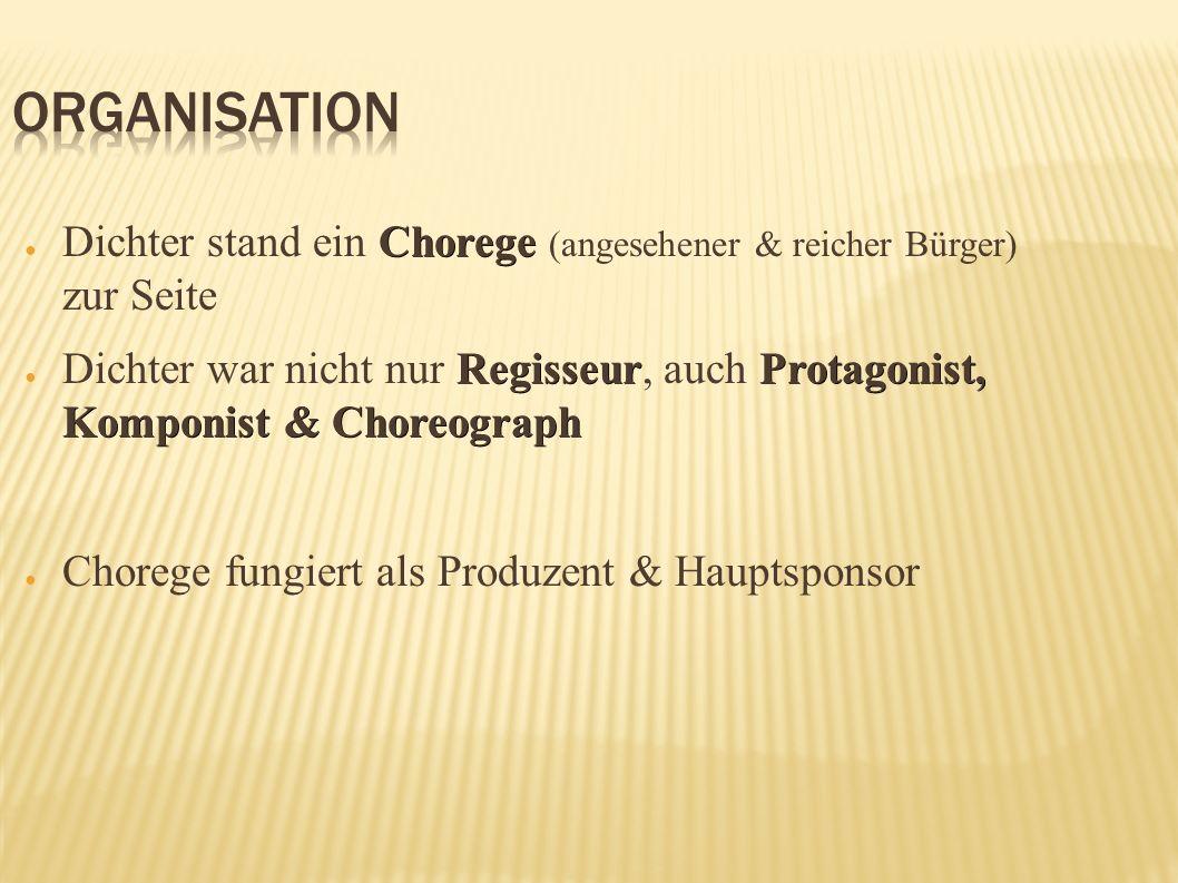 Chorege Dichter stand ein Chorege (angesehener & reicher Bürger) zur Seite RegisseurProtagonist, Komponist & Choreograph Dichter war nicht nur Regisse