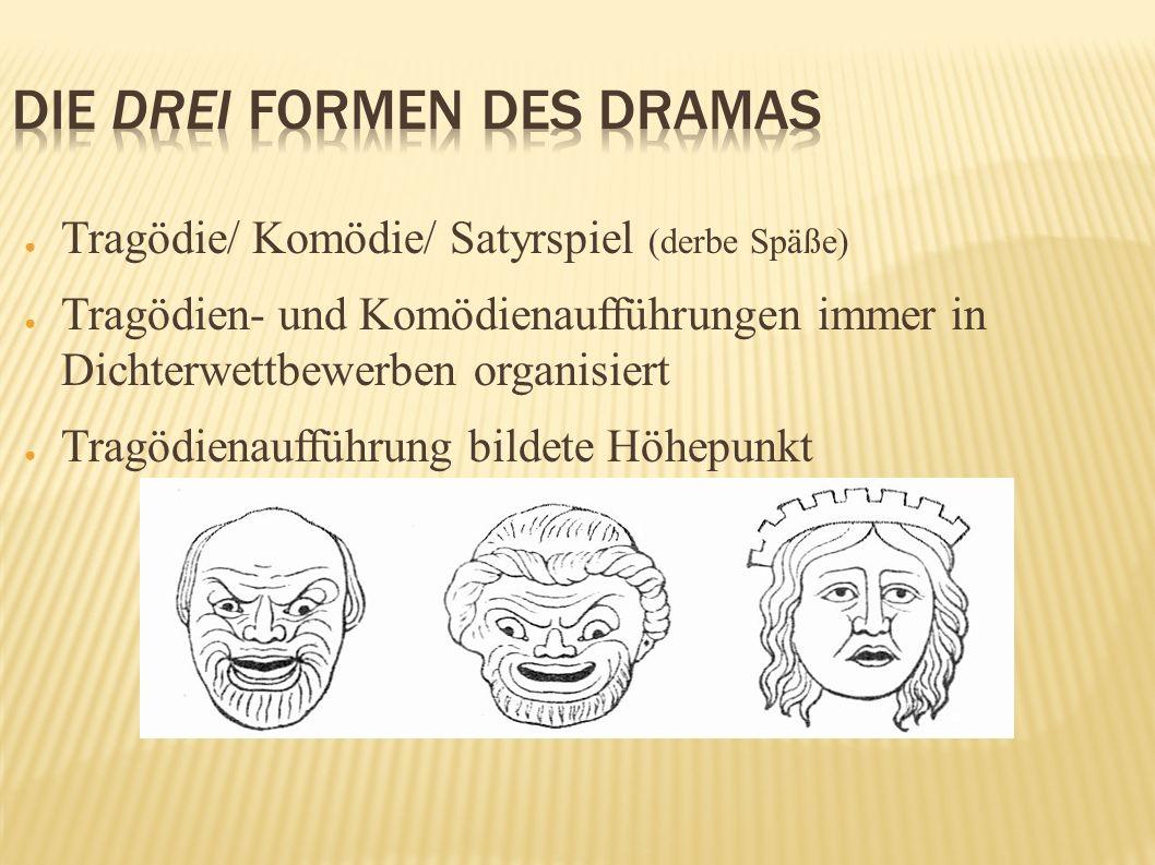 Tragödie/ Komödie/ Satyrspiel (derbe Späße) Tragödien- und Komödienaufführungen immer in Dichterwettbewerben organisiert Tragödienaufführung bildete H