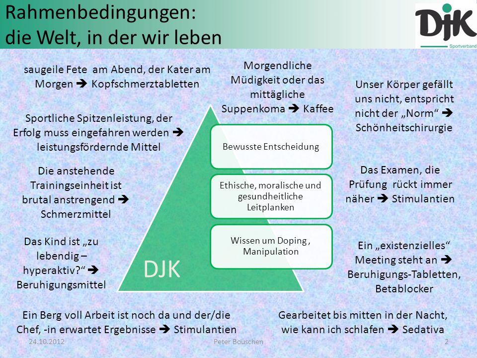 Rahmenbedingungen: die Welt, in der wir leben Bewusste Entscheidung Ethische, moralische und gesundheitliche Leitplanken Wissen um Doping, Manipulatio