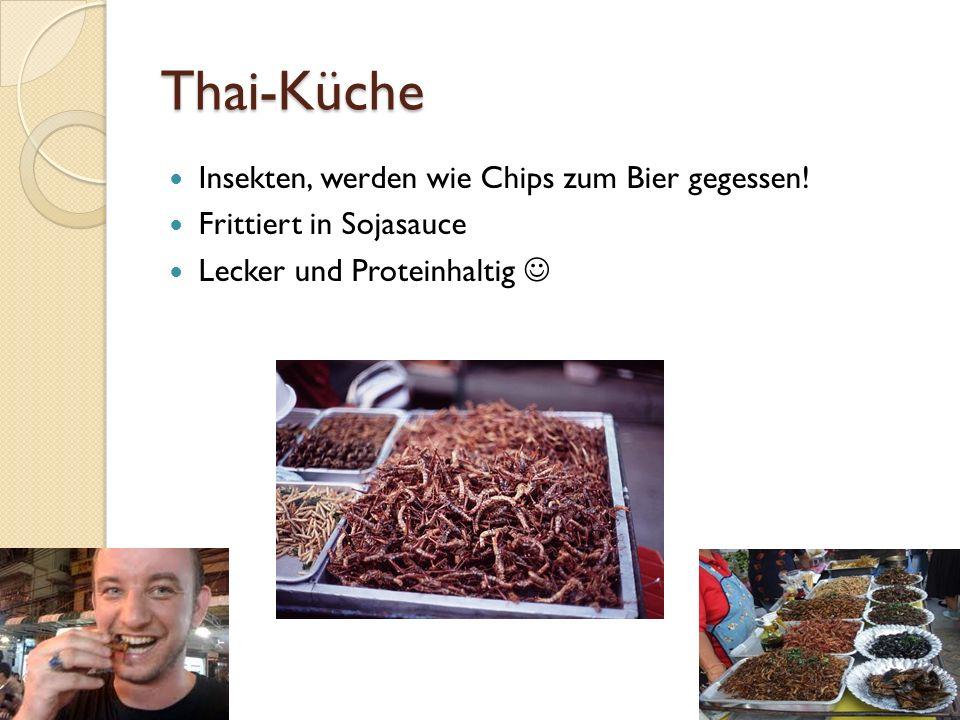 Thai-Küche Insekten, werden wie Chips zum Bier gegessen.