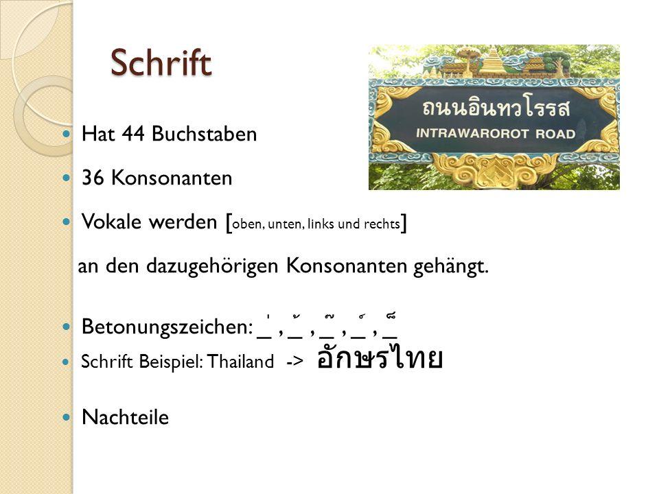 Schrift Hat 44 Buchstaben 36 Konsonanten Vokale werden [ oben, unten, links und rechts ] an den dazugehörigen Konsonanten gehängt.