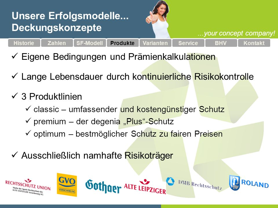 ...your concept company.Unsere Erfolgsmodelle...