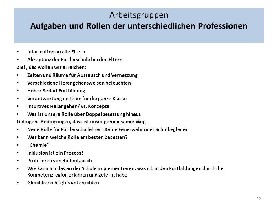 Arbeitsgruppen Aufgaben und Rollen der unterschiedlichen Professionen Lösungsansätze Unterschiedliche Rollen – Fokussierung d.