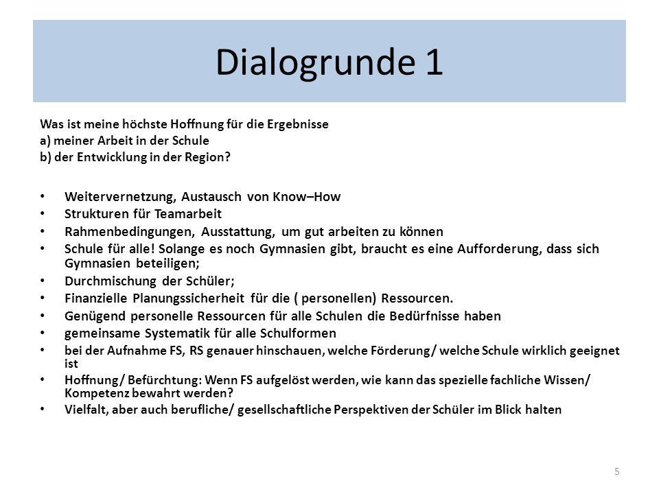 Dialogrunde 1 Welche Gelingens Bedingungen für eine Verwirklichung hin auf die höchste Hoffnung habe ich bereits erfahren.