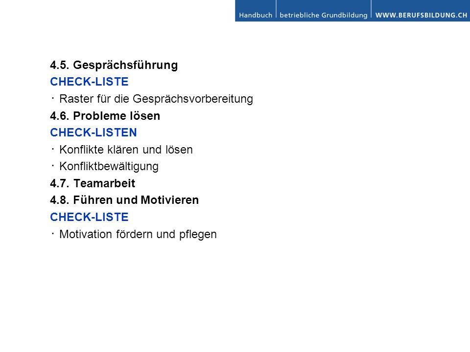 4.5.Gesprächsführung CHECK-LISTE Raster für die Gesprächsvorbereitung 4.6.