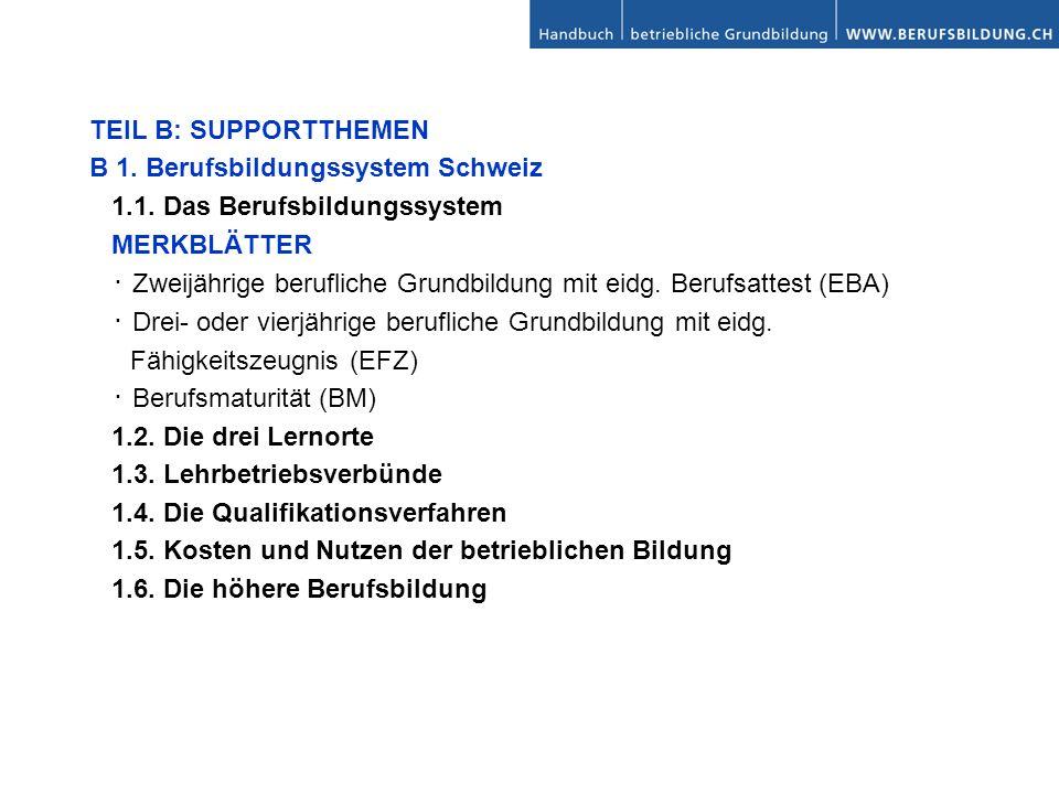 TEIL B: SUPPORTTHEMEN B 1. Berufsbildungssystem Schweiz 1.1. Das Berufsbildungssystem MERKBLÄTTER Zweijährige berufliche Grundbildung mit eidg. Berufs