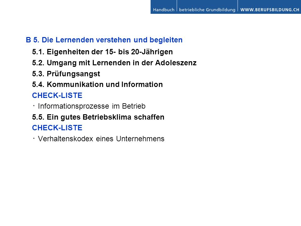 B 5. Die Lernenden verstehen und begleiten 5.1. Eigenheiten der 15- bis 20-Jährigen 5.2. Umgang mit Lernenden in der Adoleszenz 5.3. Prüfungsangst 5.4