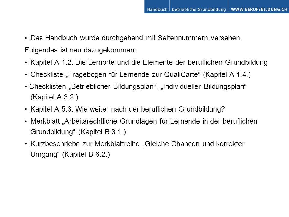 Das Handbuch wurde durchgehend mit Seitennummern versehen. Folgendes ist neu dazugekommen: Kapitel A 1.2. Die Lernorte und die Elemente der berufliche