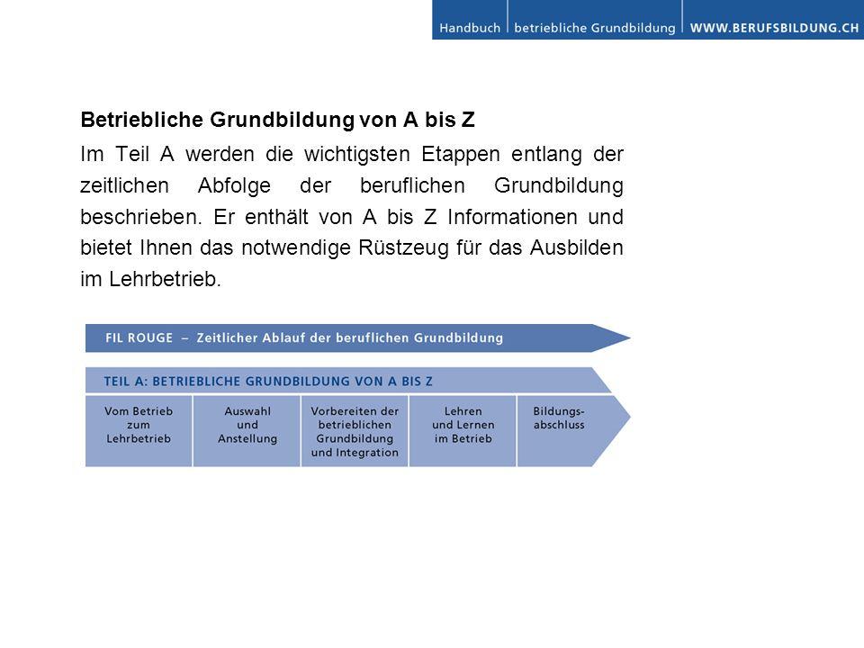 Betriebliche Grundbildung von A bis Z Im Teil A werden die wichtigsten Etappen entlang der zeitlichen Abfolge der beruflichen Grundbildung beschrieben.