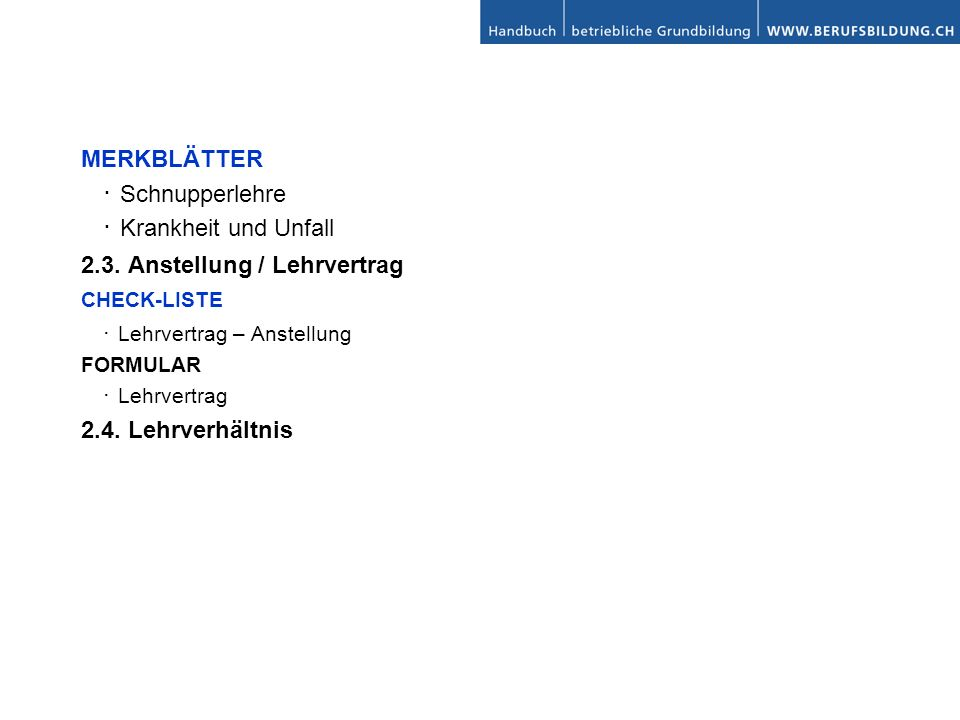 MERKBLÄTTER Schnupperlehre Krankheit und Unfall 2.3.