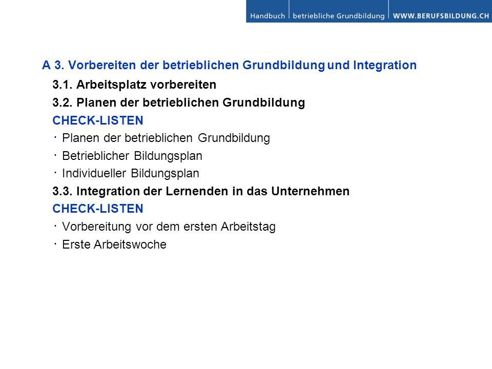 A 3. Vorbereiten der betrieblichen Grundbildung und Integration 3.1. Arbeitsplatz vorbereiten 3.2. Planen der betrieblichen Grundbildung CHECK-LISTEN