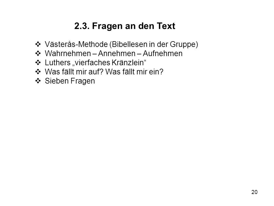 20 2.3. Fragen an den Text Västerås-Methode (Bibellesen in der Gruppe) Wahrnehmen – Annehmen – Aufnehmen Luthers vierfaches Kränzlein Was fällt mir au