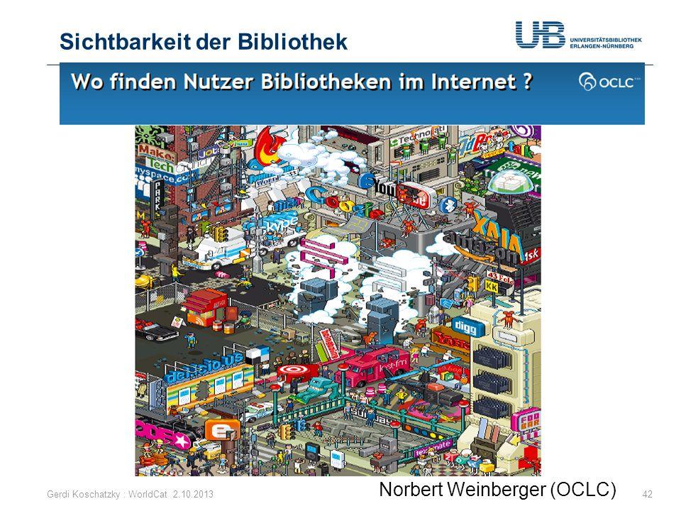 Sichtbarkeit der Bibliothek 42 Norbert Weinberger (OCLC) Gerdi Koschatzky : WorldCat 2.10.2013