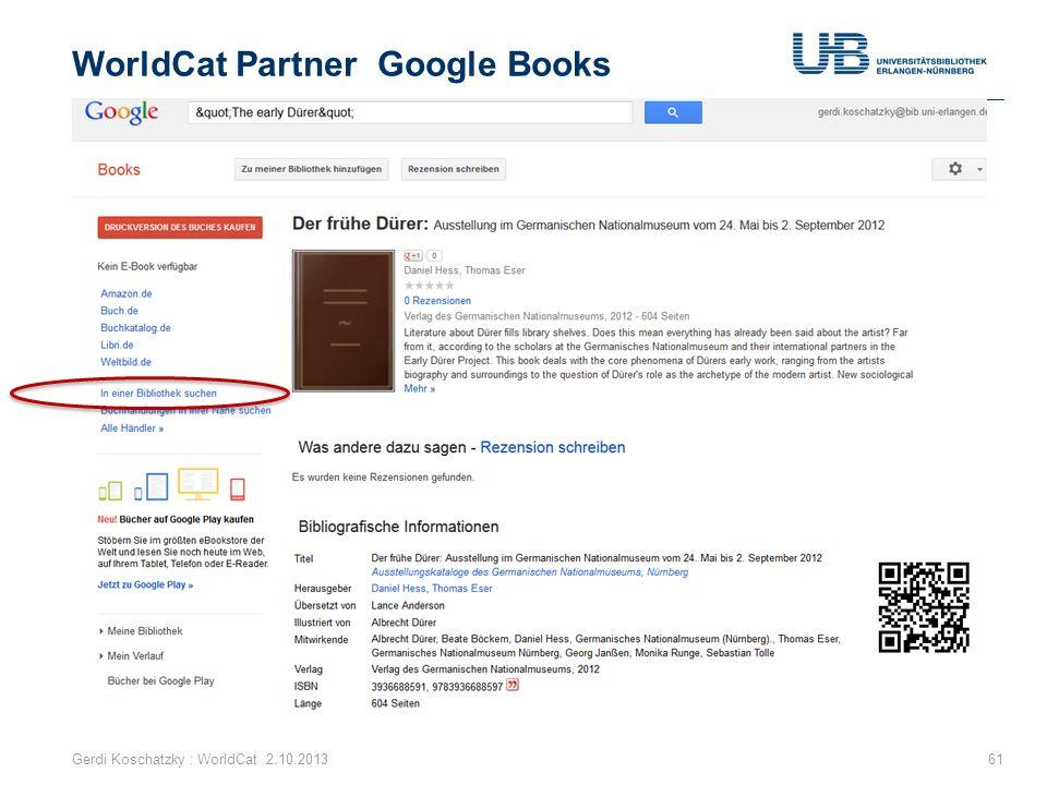 WorldCat Partner Google Books Gerdi Koschatzky : WorldCat 2.10.201361