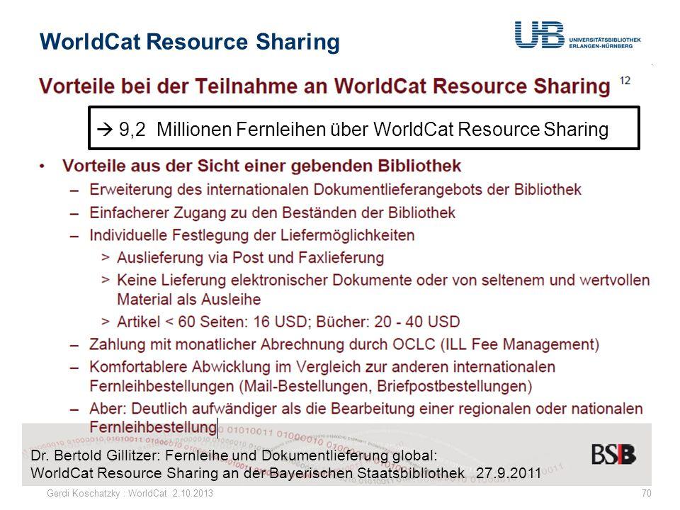 WorldCat Resource Sharing Gerdi Koschatzky : WorldCat 2.10.201370 Dr. Bertold Gillitzer: Fernleihe und Dokumentlieferung global: WorldCat Resource Sha