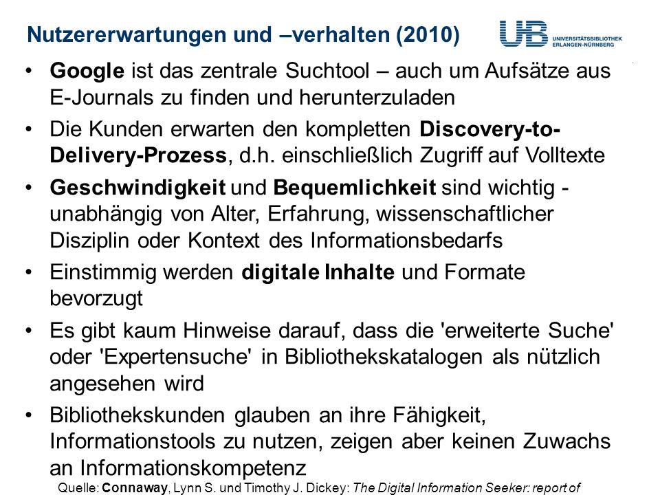 Nutzererwartungen und –verhalten (2010) Gerdi Koschatzky : WorldCat 2.10.201372 Google ist das zentrale Suchtool – auch um Aufsätze aus E-Journals zu