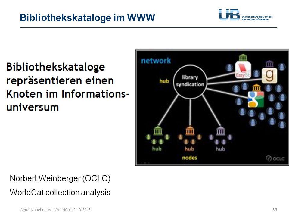 Bibliothekskataloge im WWW 85 Norbert Weinberger (OCLC) Gerdi Koschatzky : WorldCat 2.10.2013 WorldCat collection analysis