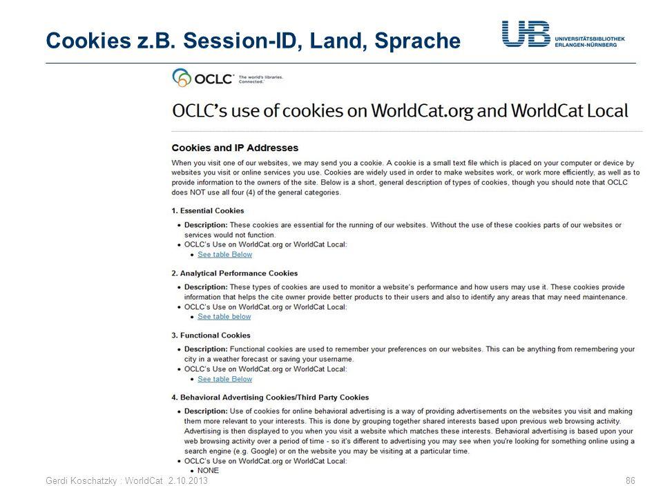 Cookies z.B. Session-ID, Land, Sprache Gerdi Koschatzky : WorldCat 2.10.201386