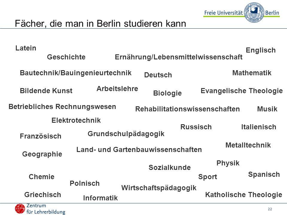 22 Fächer, die man in Berlin studieren kann Arbeitslehre Bautechnik/Bauingenieurtechnik Bildende Kunst Betriebliches Rechnungswesen Elektrotechnik Bio