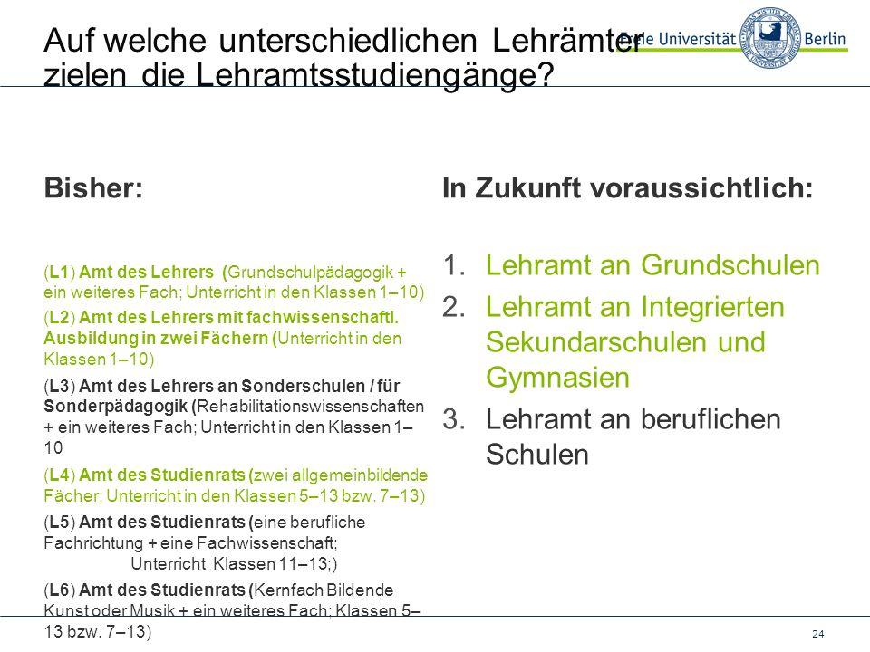24 Auf welche unterschiedlichen Lehrämter zielen die Lehramtsstudiengänge? Bisher: (L1) Amt des Lehrers (Grundschulpädagogik + ein weiteres Fach; Unte