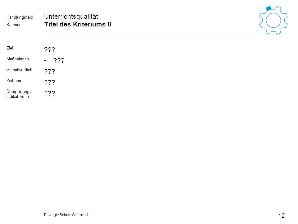 Bewegte Schule Österreich Kriterium Handlungsfeld Unterrichtsqualität Titel des Kriteriums 8 Ziel ??? Maßnahmen ??? Verantwortlich ??? Zeitraum ??? Üb
