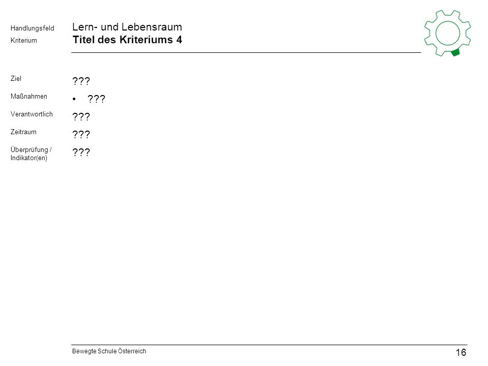 Bewegte Schule Österreich Kriterium Handlungsfeld Lern- und Lebensraum Titel des Kriteriums 4 Ziel ??? Maßnahmen ??? Verantwortlich ??? Zeitraum ??? Ü