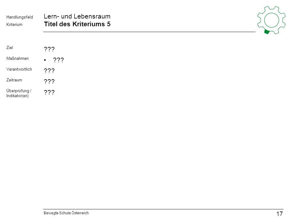 Bewegte Schule Österreich Kriterium Handlungsfeld Lern- und Lebensraum Titel des Kriteriums 5 Ziel ??? Maßnahmen ??? Verantwortlich ??? Zeitraum ??? Ü