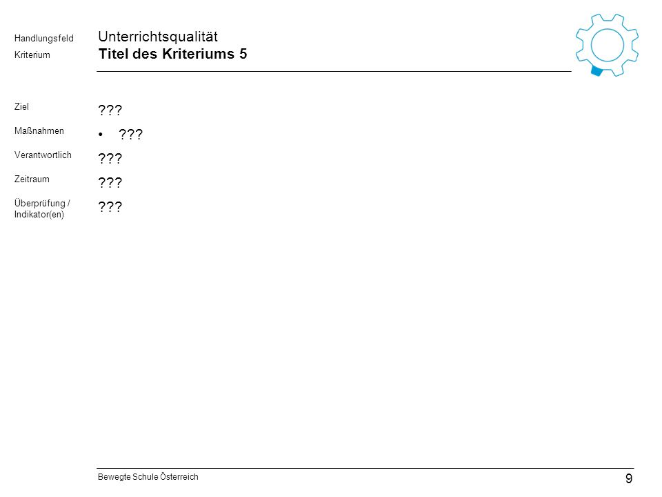Bewegte Schule Österreich Kriterium Handlungsfeld Unterrichtsqualität Titel des Kriteriums 5 Ziel ??? Maßnahmen ??? Verantwortlich ??? Zeitraum ??? Üb