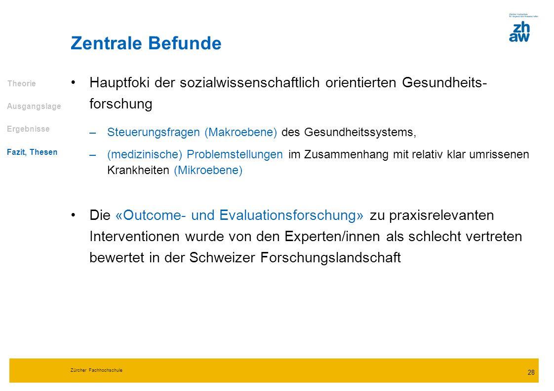 Zürcher Fachhochschule 28 Hauptfoki der sozialwissenschaftlich orientierten Gesundheits- forschung –Steuerungsfragen (Makroebene) des Gesundheitssyste