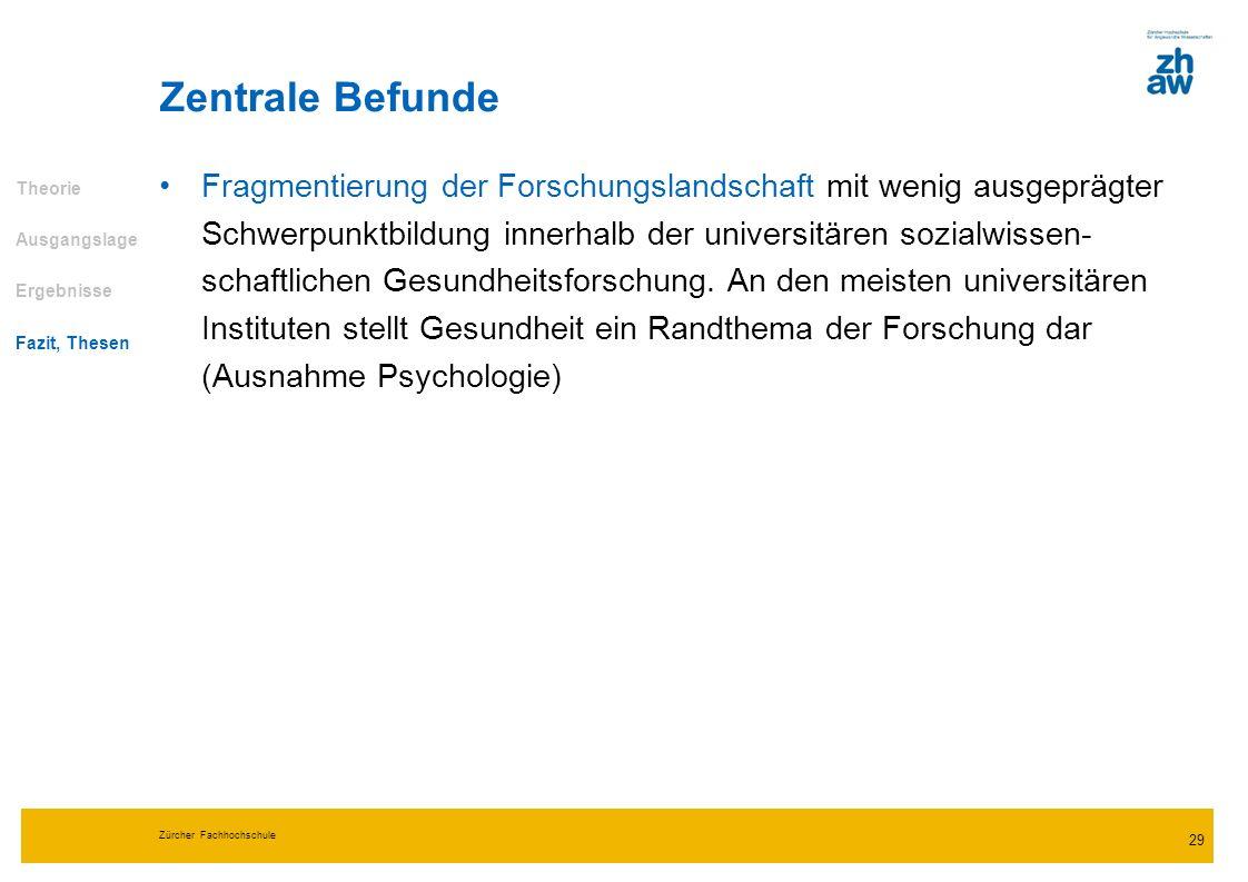 Zürcher Fachhochschule 29 Fragmentierung der Forschungslandschaft mit wenig ausgeprägter Schwerpunktbildung innerhalb der universitären sozialwissen-