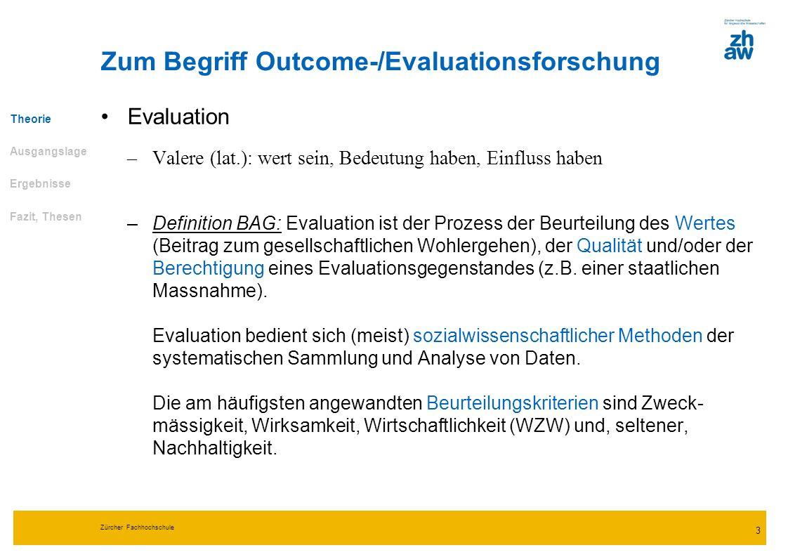 Zürcher Fachhochschule 3 Zum Begriff Outcome-/Evaluationsforschung Evaluation –Valere (lat.): wert sein, Bedeutung haben, Einfluss haben –Definition B