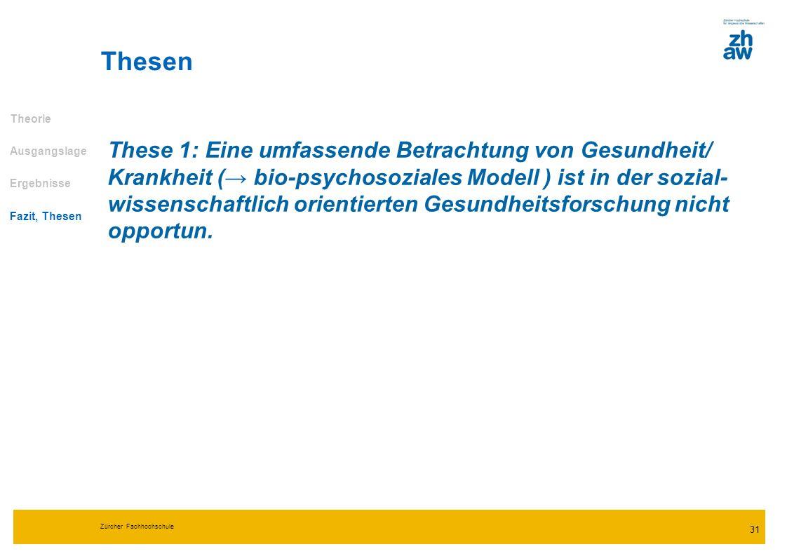 Zürcher Fachhochschule 31 Thesen Theorie Ausgangslage Ergebnisse Fazit, Thesen These 1: Eine umfassende Betrachtung von Gesundheit/ Krankheit ( bio-ps