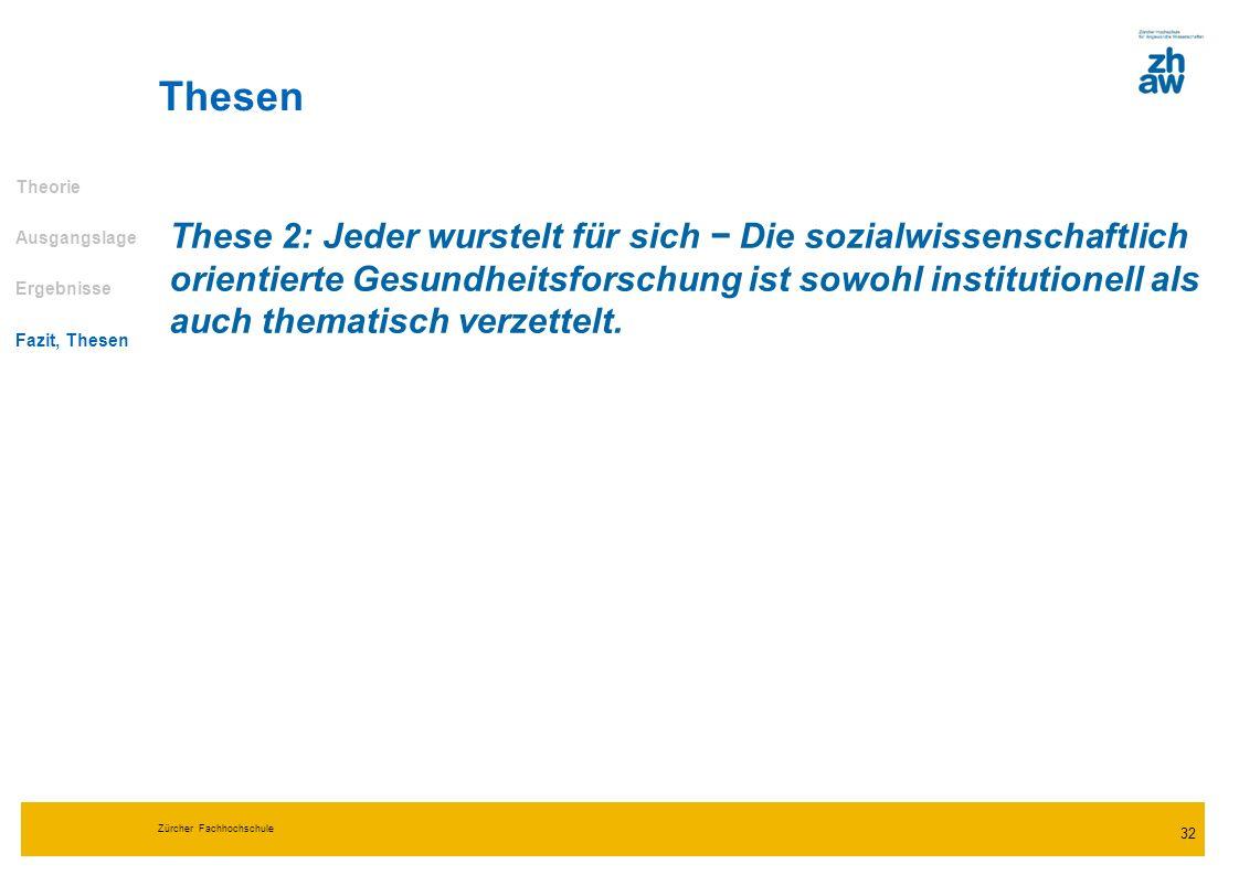 Zürcher Fachhochschule 32 Thesen Theorie Ausgangslage Ergebnisse Fazit, Thesen These 2: Jeder wurstelt für sich Die sozialwissenschaftlich orientierte