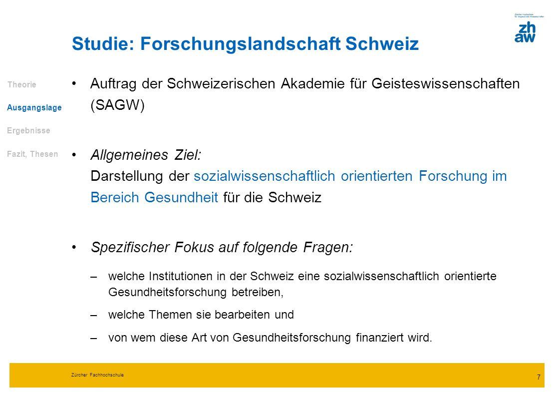 Zürcher Fachhochschule 7 Studie: Forschungslandschaft Schweiz Auftrag der Schweizerischen Akademie für Geisteswissenschaften (SAGW) Allgemeines Ziel:
