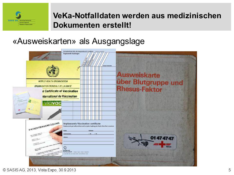 Ablösung verschiedener Ausweise © SASIS AG, 2013, Vista Expo, 30.9.20136
