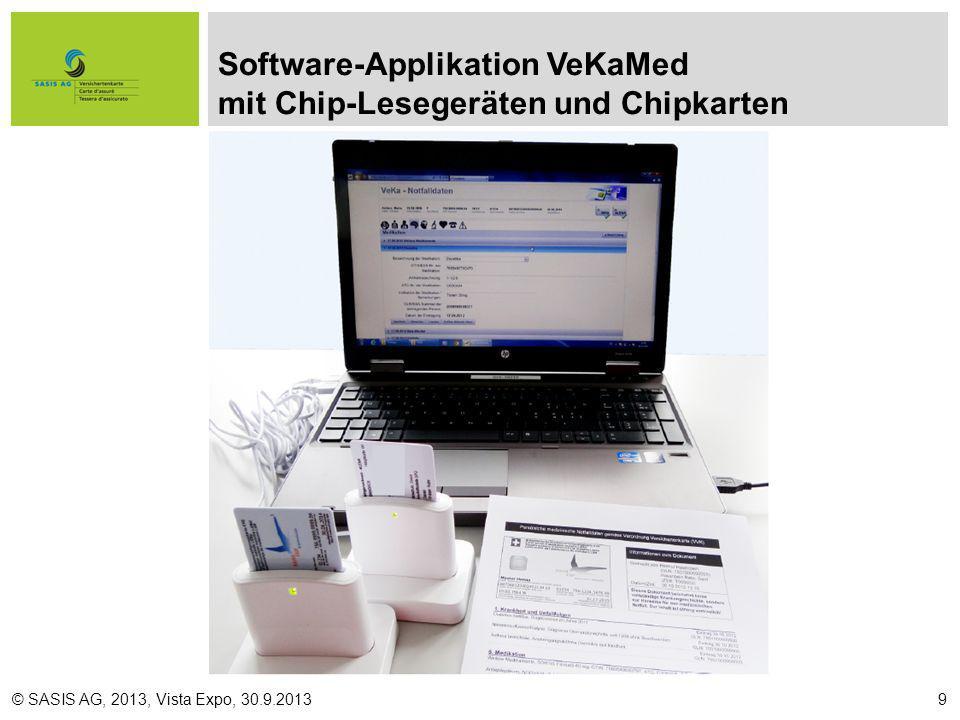 Software-Applikation VeKaMed mit Chip-Lesegeräten und Chipkarten © SASIS AG, 2013, Vista Expo, 30.9.20139