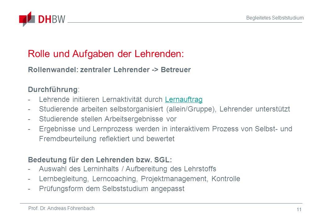 Prof. Dr. Andreas Föhrenbach Begleitetes Selbststudium 11 Rolle und Aufgaben der Lehrenden: Rollenwandel: zentraler Lehrender -> Betreuer Durchführung