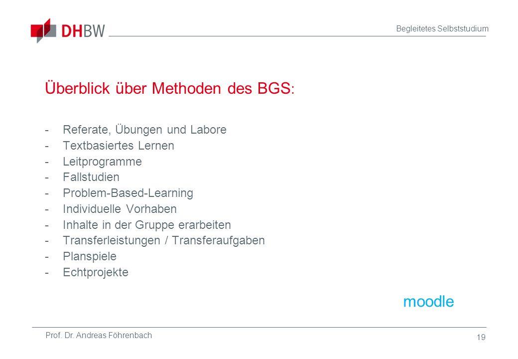 Prof. Dr. Andreas Föhrenbach Begleitetes Selbststudium 19 Überblick über Methoden des BGS : -Referate, Übungen und Labore -Textbasiertes Lernen -Leitp