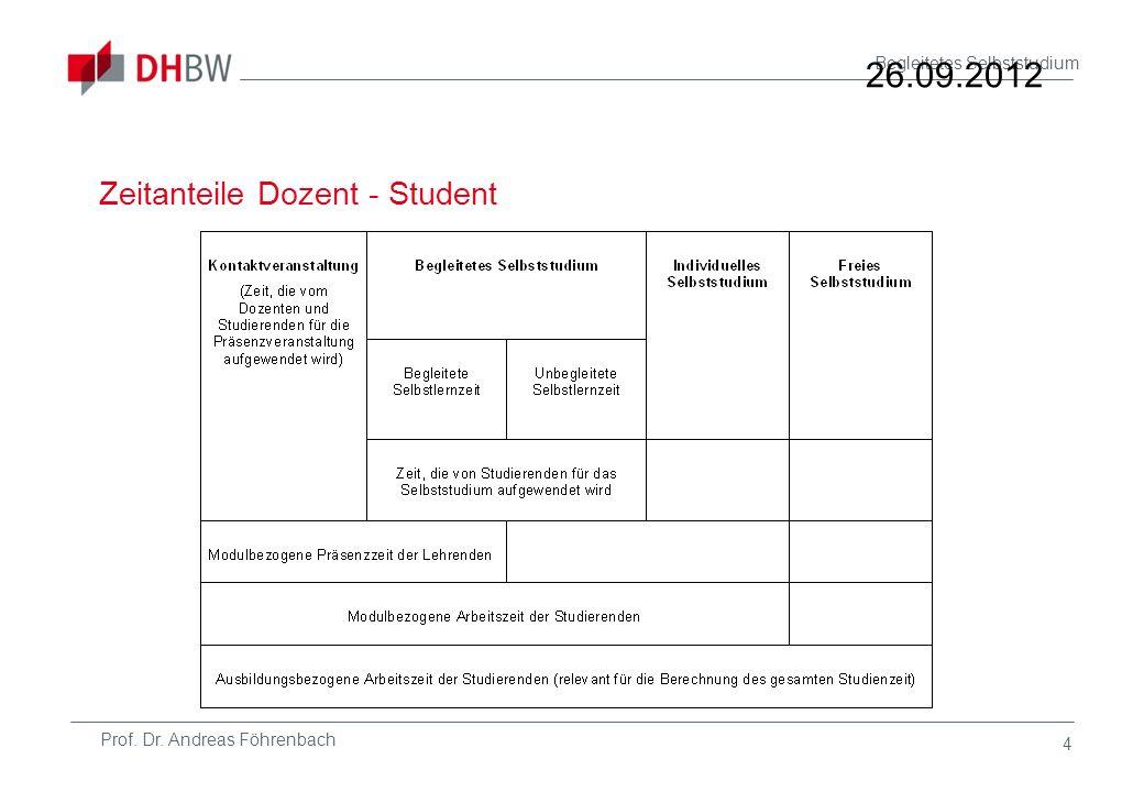 Prof. Dr. Andreas Föhrenbach Begleitetes Selbststudium Zeitanteile Dozent - Student 26.09.2012 4