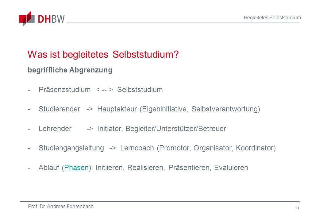 Prof. Dr. Andreas Föhrenbach Begleitetes Selbststudium 5 Was ist begleitetes Selbststudium? begriffliche Abgrenzung -Präsenzstudium Selbststudium -Stu
