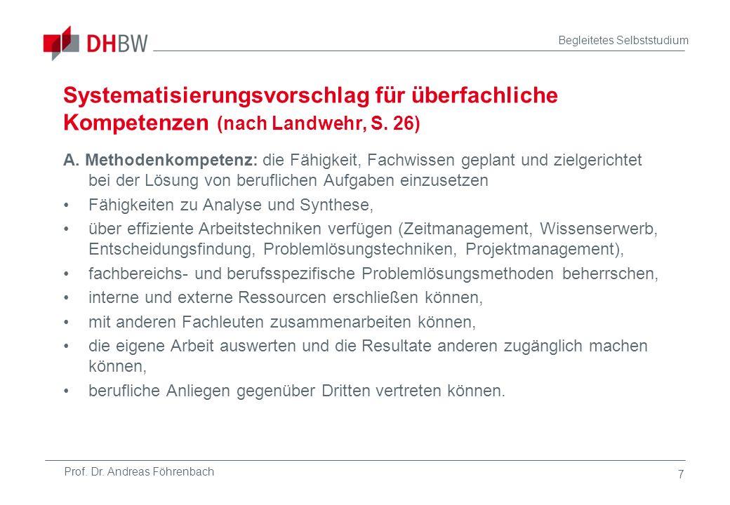 Prof. Dr. Andreas Föhrenbach Begleitetes Selbststudium 7 Systematisierungsvorschlag für überfachliche Kompetenzen (nach Landwehr, S. 26) A. Methodenko