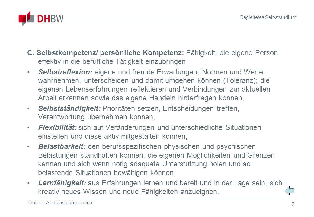 Prof. Dr. Andreas Föhrenbach Begleitetes Selbststudium 9 C. Selbstkompetenz/ persönliche Kompetenz: Fähigkeit, die eigene Person effektiv in die beruf