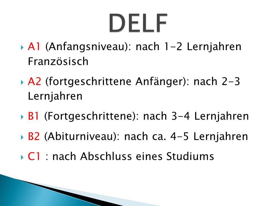 A1 (Anfangsniveau): nach 1-2 Lernjahren Französisch A2 (fortgeschrittene Anfänger): nach 2-3 Lernjahren B1 (Fortgeschrittene): nach 3-4 Lernjahren B2