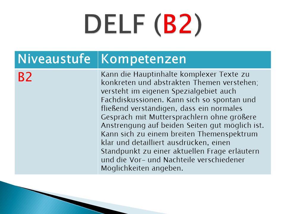 NiveaustufeKompetenzen B2 Kann die Hauptinhalte komplexer Texte zu konkreten und abstrakten Themen verstehen; versteht im eigenen Spezialgebiet auch F