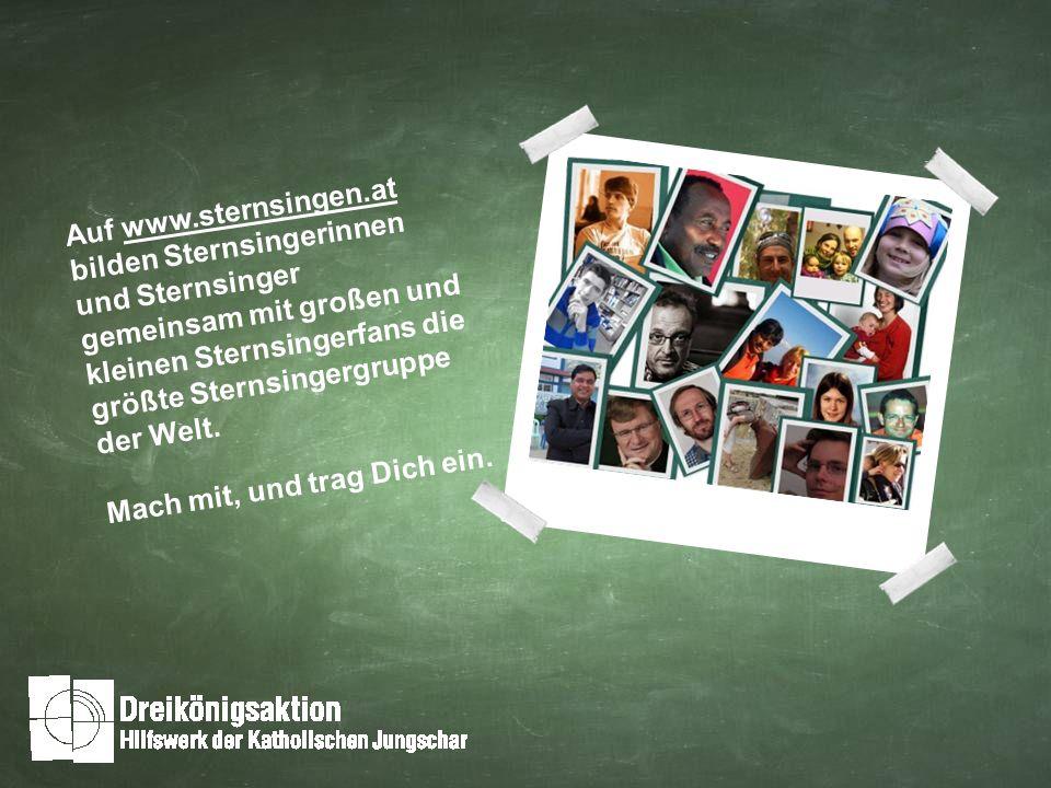 Auf www.sternsingen.at bilden Sternsingerinnen und Sternsinger gemeinsam mit großen und kleinen Sternsingerfans die größte Sternsingergruppe der Welt.
