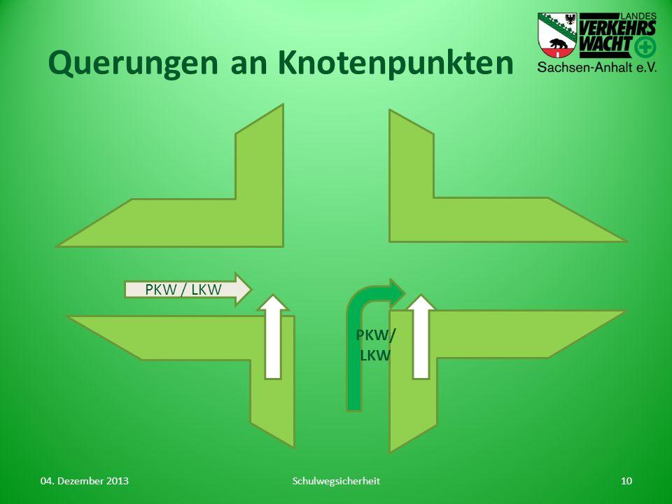 Querungen an Knotenpunkten 04. Dezember 2013Schulwegsicherheit10 PKW/ LKW