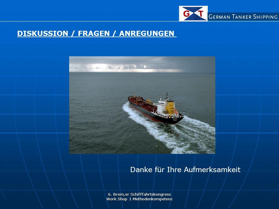 6. Brem,er Schifffahrtskongress Work Shop 1 Methodenkompetenz DISKUSSION / FRAGEN / ANREGUNGEN Danke für Ihre Aufmerksamkeit