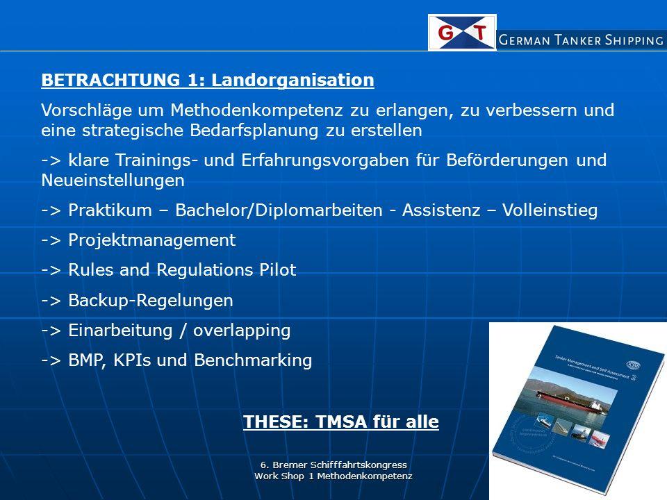 6. Bremer Schifffahrtskongress Work Shop 1 Methodenkompetenz BETRACHTUNG 1: Landorganisation Vorschläge um Methodenkompetenz zu erlangen, zu verbesser