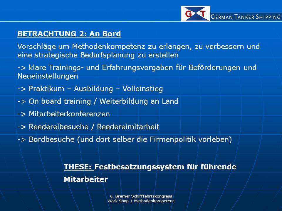 6. Bremer Schifffahrtskongress Work Shop 1 Methodenkompetenz BETRACHTUNG 2: An Bord Vorschläge um Methodenkompetenz zu erlangen, zu verbessern und ein