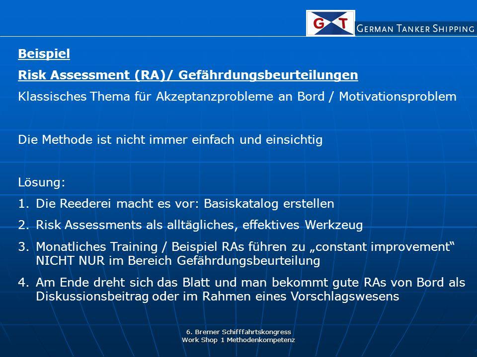 6. Bremer Schifffahrtskongress Work Shop 1 Methodenkompetenz Beispiel Risk Assessment (RA)/ Gefährdungsbeurteilungen Klassisches Thema für Akzeptanzpr